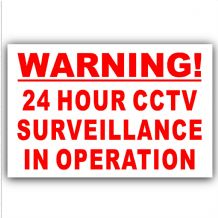 1 x Red on White-130mm-Warning 24 Hour CCTV Surveillance In Operation Stickers-Closed Circuit Television Security-Self Adhesive Vinyl Signs